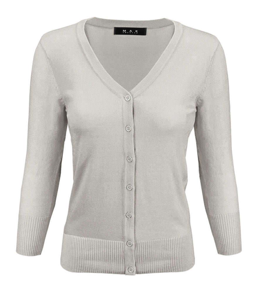 Women's V-Neck Button Down Knit Cardigan Sweater Vintage CO078PL (1X-3X) PLUS size Option (1 of 2)