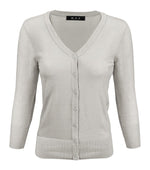 Womens V-Neck Button Down Knit Cardigan Sweater Vintage CO078PL (1X-3X) PLUS size Option (1 of 2) - Cardigans-Sweaters