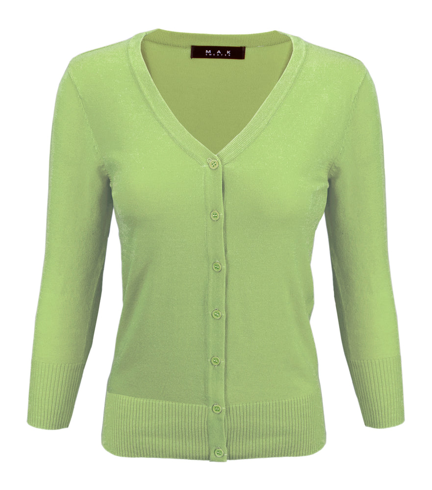 Women's V-Neck Button Down Knit Cardigan Sweater Vintage Inspired CO078 (S-L) Color Option (1 of 2)