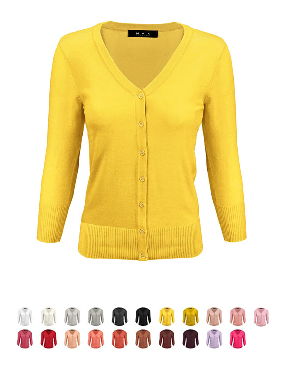 YEMAK Women's 3/4 Sleeve V-Neck Button Down Knit Cardigan Sweater CO078PL (1X-3X) PLUS size Option (1 of 2)