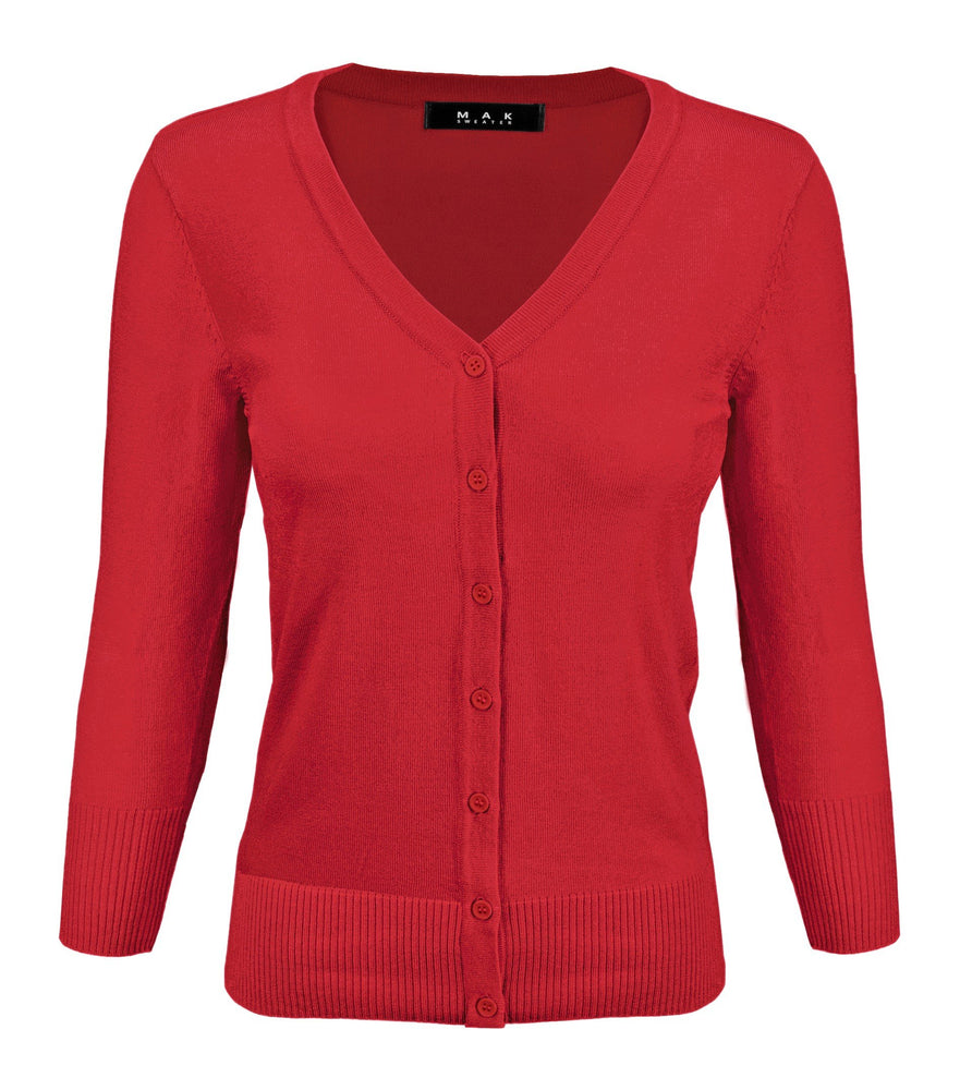 Women's V-Neck Button Down Knit Cardigan Sweater Vintage Inspired CO078 (S-L) Color Option (2 of 2)