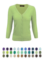 YEMAK Women's 3/4 Sleeve V-Neck Button Down Knit Cardigan Sweater CO078 (S-L) Color Option (1 of 2)