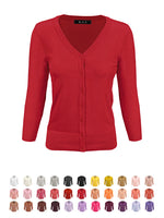 YEMAK Women's 3/4 Sleeve V-Neck Button Down Knit Cardigan Sweater CO078 (S-L) Color Option (2 of 2)