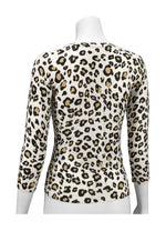 YEMAK Women's Leopard Pattern 3/4 Sleeve V-Neck Button Down Knit Sweater Cardigan CO078LEO (S-XL)