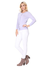 YEMAK Women's 3/4 Sleeve Crewneck Button Down Knit Cardigan Sweater CO079PL PLUS size(1X-3X)Color(1 of 2)