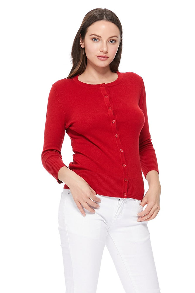YEMAK Women's 3/4 Sleeve Crewneck Cardigan Sweater CO079PL PLUS size (1X-3X) Color (2 of 2)