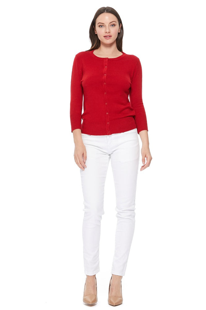 YEMAK Women's 3/4 Sleeve Crewneck Cardigan Sweater CO079PL PLUS size (1X-3X) Color (1 of 2)