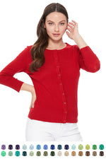 YEMAK Women's 3/4 Sleeve Crewneck Button Down Knit Cardigan Sweater CO079(S-L)Color Option(2 of 2)