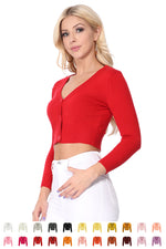YEMAK Women's Cropped 3/4 Sleeves Cardigan Sweater Vintage Inspired PinUp CO129(S-XL)Color Option(2 of 2)
