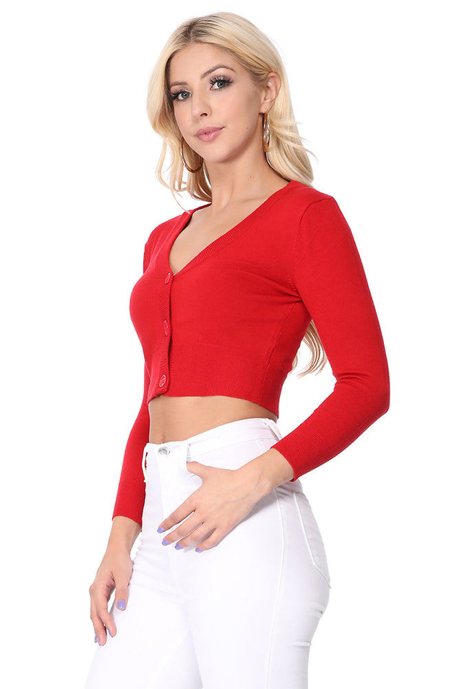 YEMAK Women's Cropped 3/4 Sleeves Cardigan Sweater CO129(S-XL) Color Option (1 of 2)