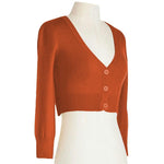 Womens Cropped 3/4 Sleeves Cardigan Sweater Vintage Inspired PinUp CO129(S-XL)Color Option(2 of 2) - Cardigan