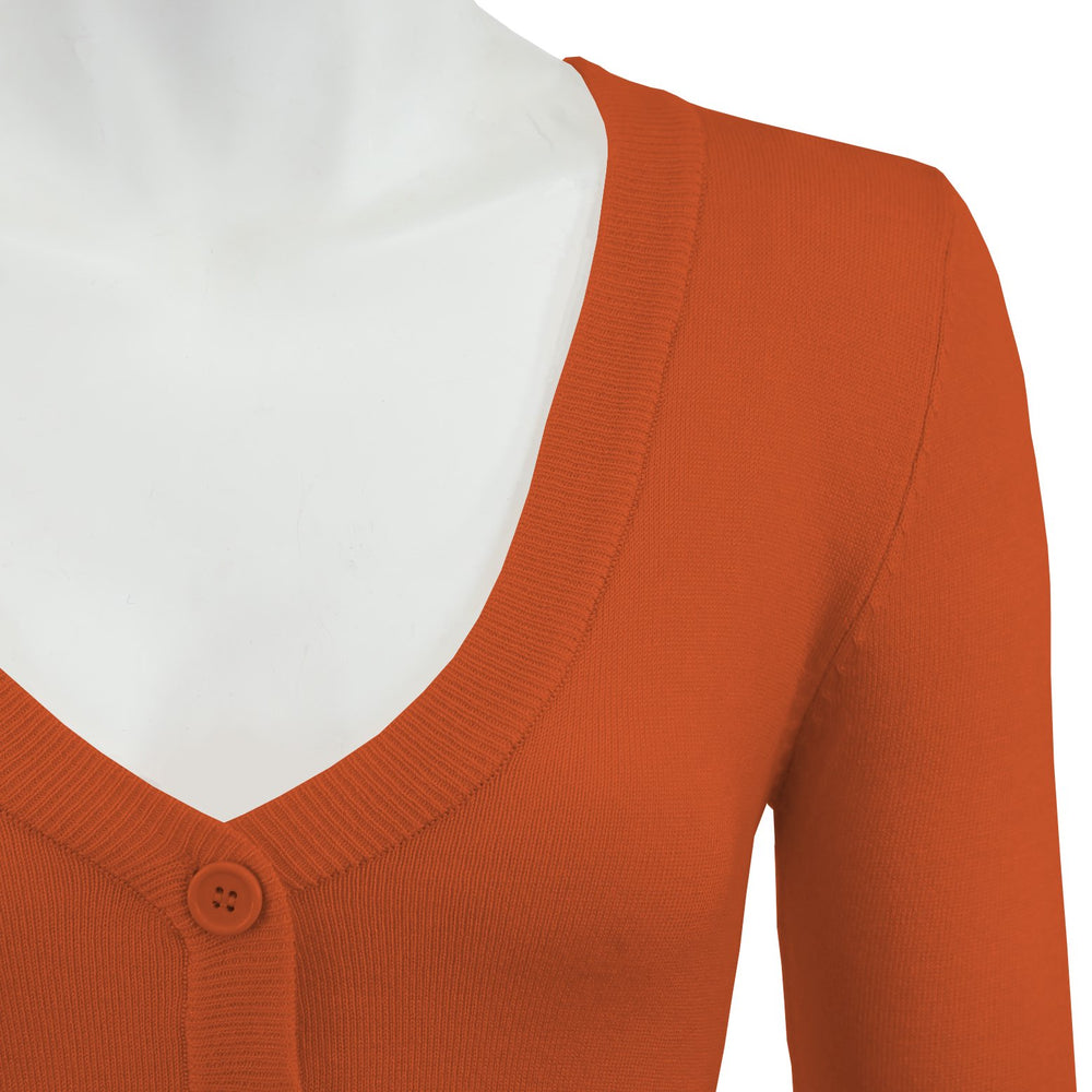 Women's Cropped 3/4 Sleeves Cardigan Sweater Vintage Inspired PinUp CO129(S-XL)Color Option(2 of 2) - Yemak Sweater