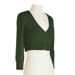 Women's Cropped 3/4 Sleeves Cardigan Sweater Vintage Inspired PinUp CO129(S-XL)Color Option(1 of 2) - Yemak Sweater