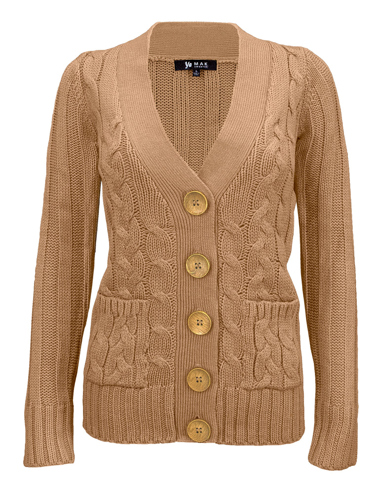 Women's Casual Long Sleeve Button Down Cabel Knitted Cardigan Sweater with Two Pockets HB3134