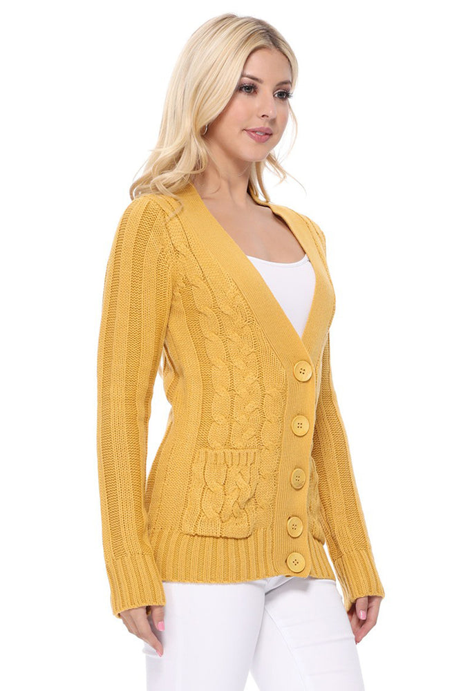 Women's Casual Long Sleeve Button Down Cable Knit Cardigan Sweater with Two Pockets HB3134