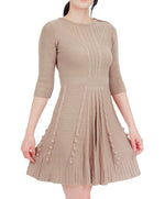YEMAK Women's 3/4 Sleeve Crewneck Lovely Pompom Cabel Knit Sweater Midi Dress HB3137 (S-L)
