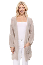 Yemak Women's Long Sleeve Knitted Open-Front Summer Sweater Cardigan with Pockets HK8072 (S/M - M/L)