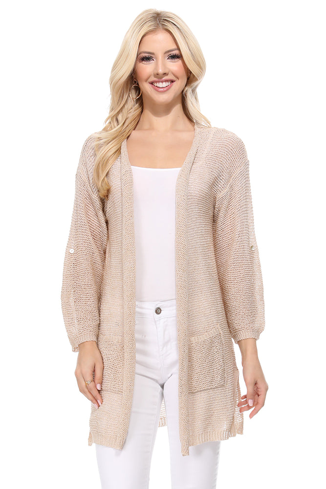 Yemak Women's Long Sleeve Knitted Open-Front Cardigan Sweater with Pockets HK8072 (S/M - M/L)