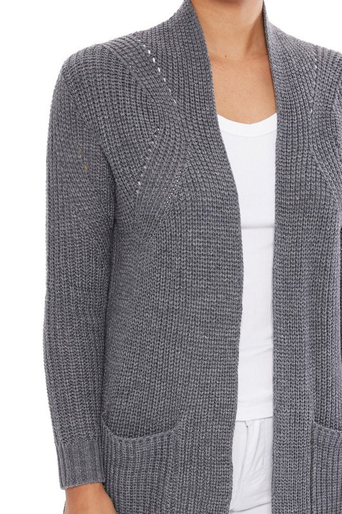 Women's Stylish Drape Long Sleeve Sweater Cardigan Jacket with Two Pockets HK8189 - Yemak Sweater
