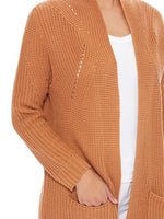 Womens Stylish Drape Long Sleeve Sweater Cardigan Jacket with Two Pockets HK8189 - Cardigans-Sweaters