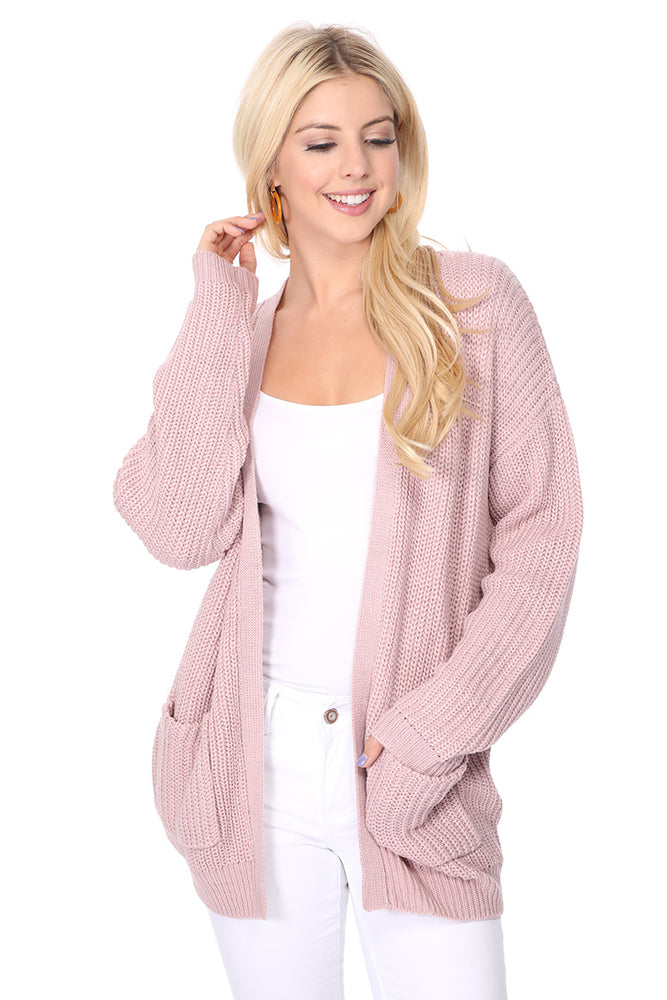 YEMAK Women's Long Sleeve Chunky Waffle Knit Open Front Sweater Cardigan HK8246