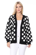 YEMAK Women's Chunky Polka Dot Open Front Long Sleeve Jacket Sweater Cardigan HK8254