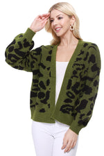 Yemak Women's Chunky Leopard Print Open Front Long Sleeve Jacket Sweater Cardigan HK8254LEO