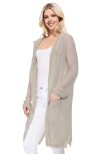 Yemak Women's Long Sleeve Open Front Knit Long Sweater Summer Cardigan with Pockets and Hoodie HK8266