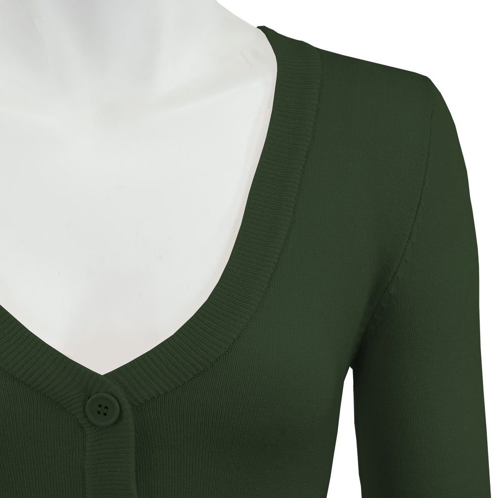 Womens Cropped 3/4 Sleeves Cardigan Sweater Inspired PinUp CO129PL (1X-4X)PLUS size Color(2 of 2) - Cardigans-Sweaters