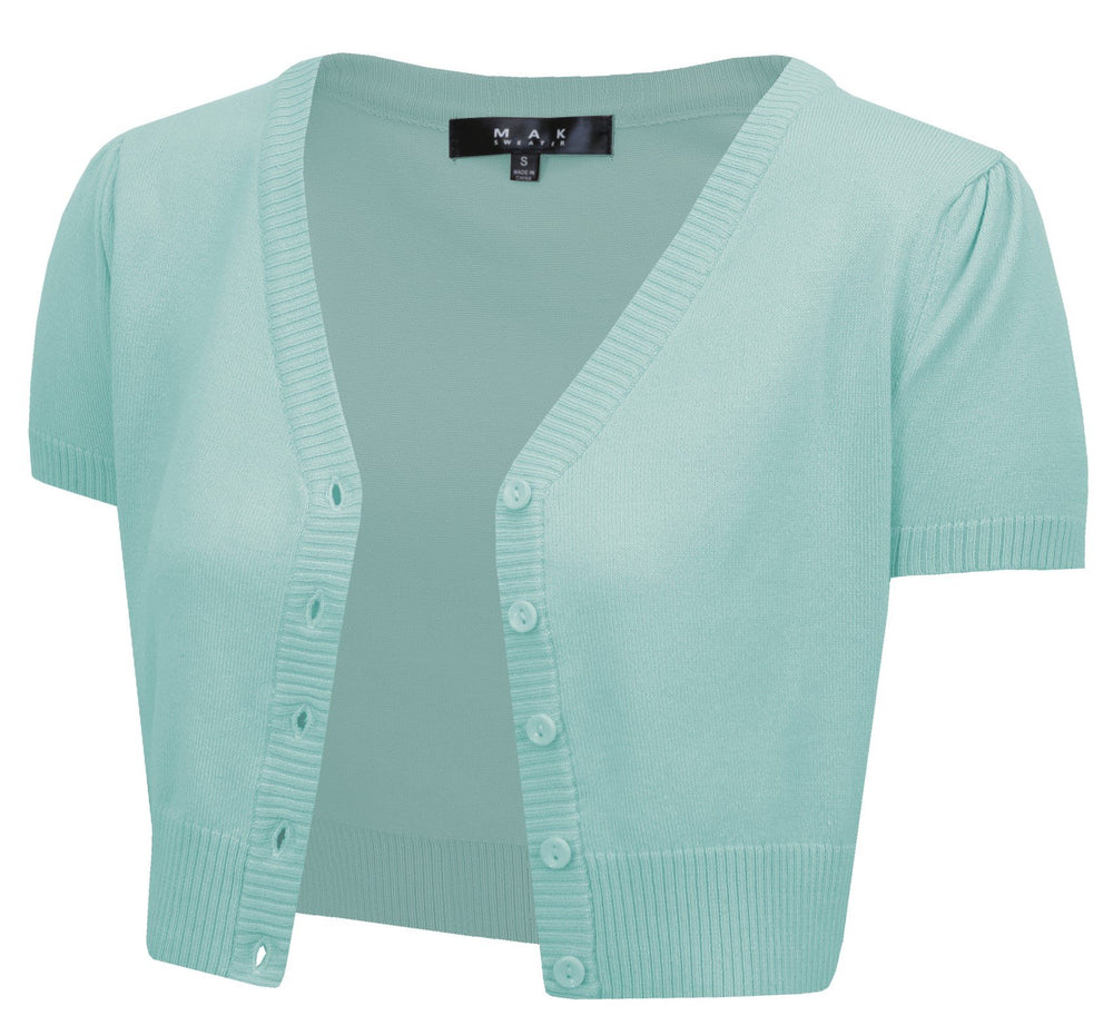 Short Sleeve Cropped Bolero Cardigan Sweater Vintage Inspired Pinup HB2137(S-L) - Yemak Sweater