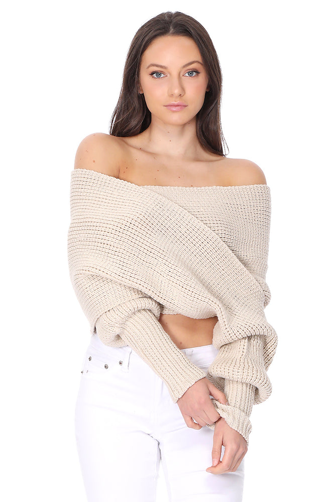 YEMAK Sexy Off The Shoulder Long Sleeve Wrap Sweater Shawl With Sleeve KC003