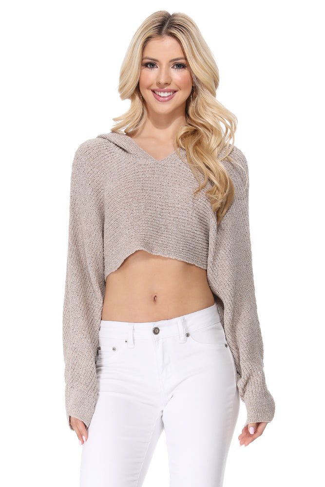 Yemak Women's Long Sleeve Knit Cropped Sweater Summer Pullover with Hoodie KC009 (S/M-M/L)