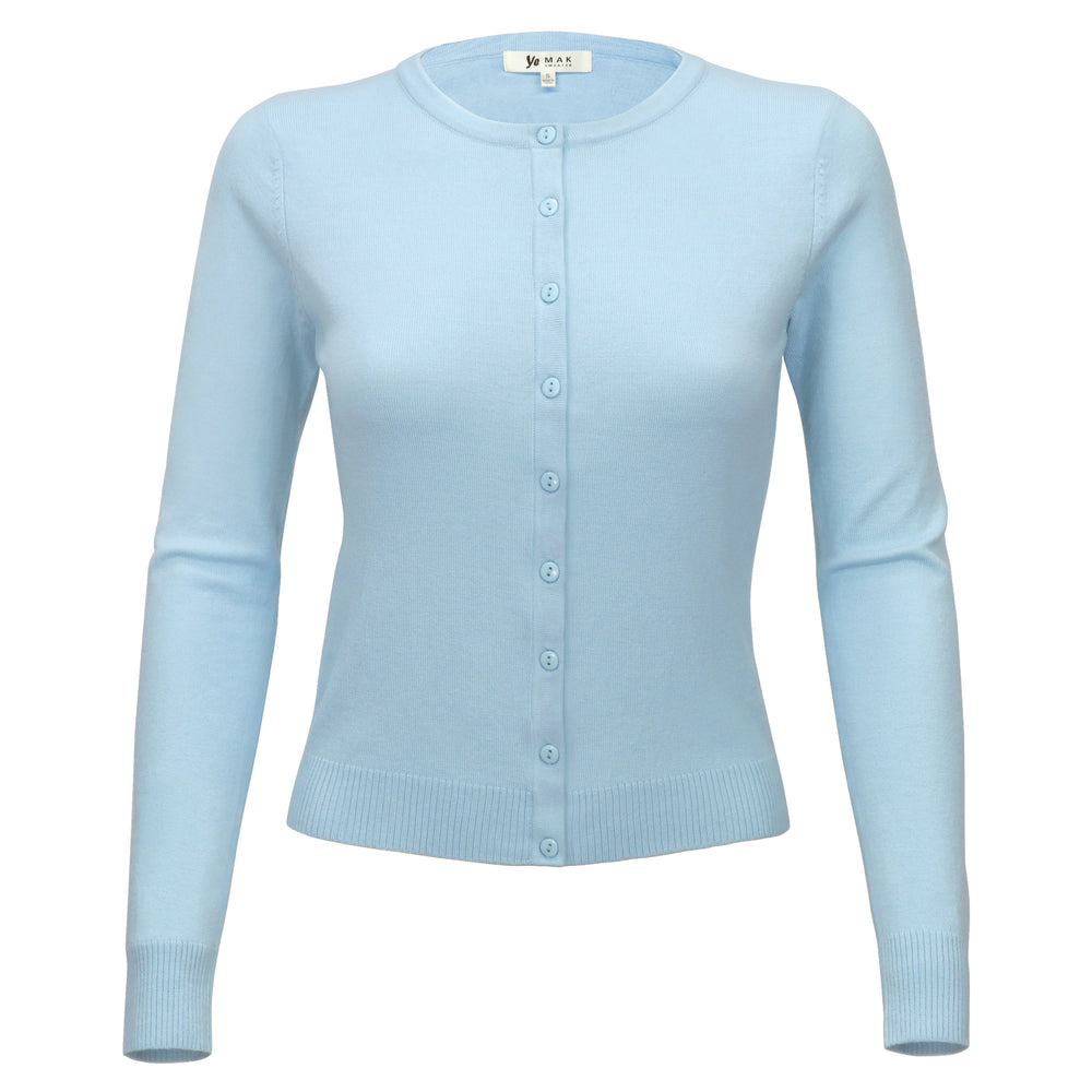 Women Long Sleeve Crewneck Button Down Casual Soft Touch Cardigan Sweater MK0179 - Yemak Sweater