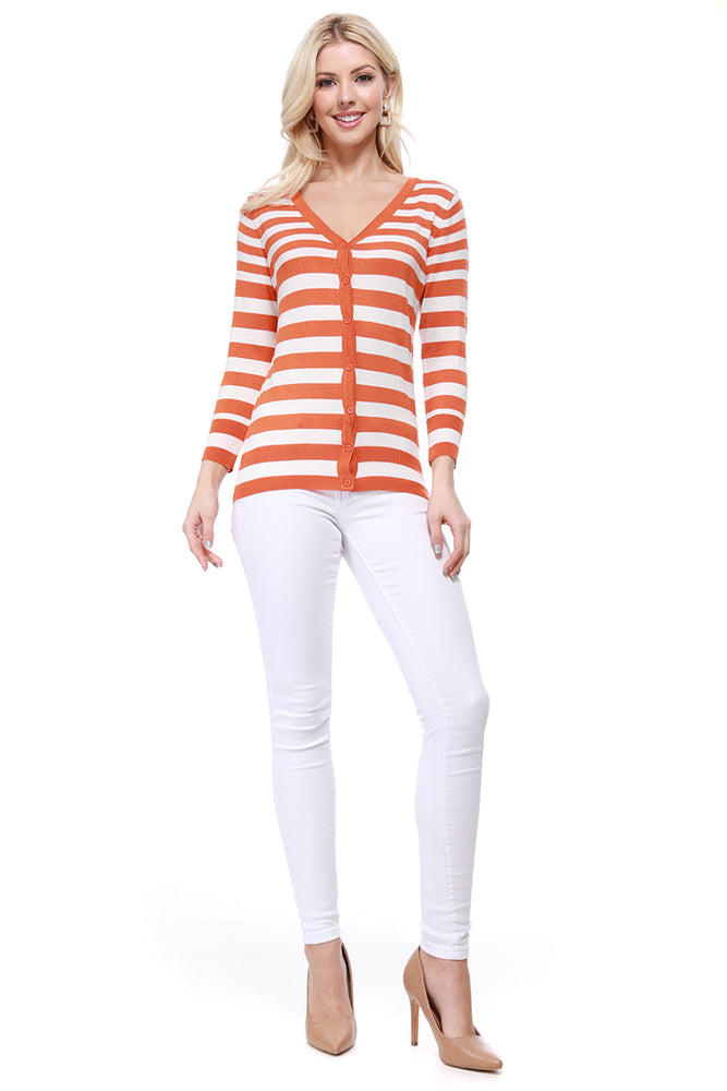 Yemak Women's 3/4 Sleeve V-Neck Stripe Sweater Cardigan MK3078