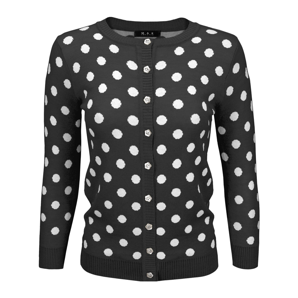 Womens Cute Polka Dot Jacquard Crewneck Button Down Sweater Cardigan MK3104 - Cardigans-Sweaters