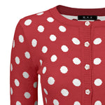 Women's Cute Polka Dot Jacquard Crewneck Button Down Sweater Cardigan MK3104 - Yemak Sweater