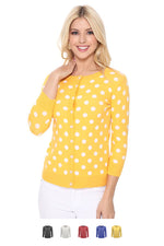 YEMAK Women's Polka Dot Cute Jacquard Crewneck Button Down Sweater Cardigan MK3104