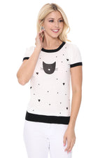 YEMAK Women's Kitty Cat Face Casual Short Sleeve Pullover Sweater MK3182 (S-L)