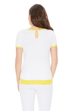 YEMAK Women's Short Sleeve Crewneck Lemon Print Casual T-Shirt Sweater MK32001 (S-L)