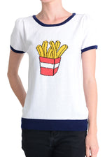 YEMAK Women's French Fries Casual Short Sleeve Pullover Sweater MK32002 (S-L)