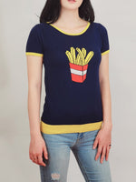 YEMAK Women's Short Sleeve Crewneck French Fries Print Casual T-Shirt Sweater MK32002 (S-L)