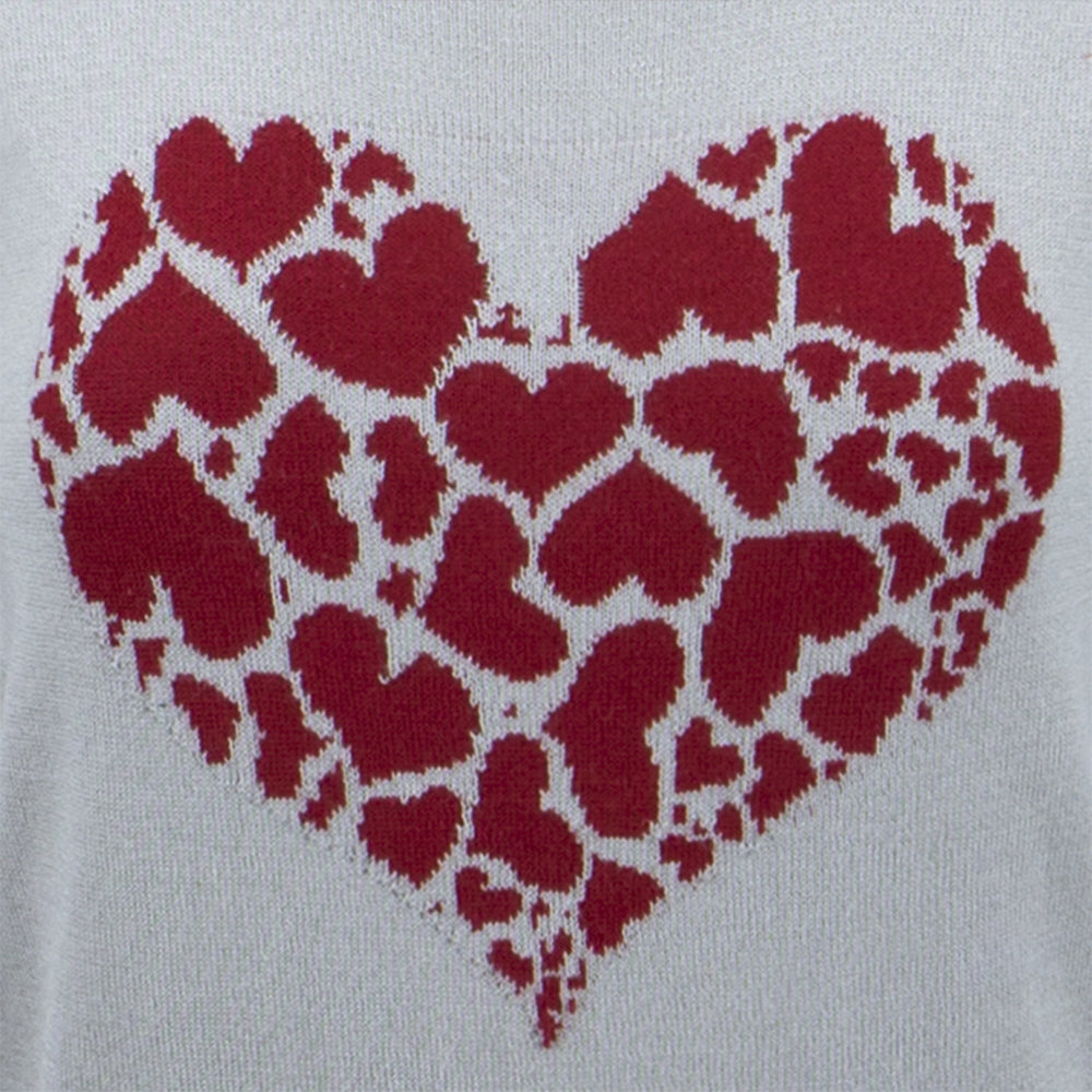 YEMAK Women's Short Sleeve Crewneck Heart Print Casual T-Shirt Sweater MK32003HEART (S-L)
