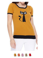 YEMAK Women's Short Sleeve Crewneck Cat Print Casual T-Shirt Sweater MK32004CAT (S-L)