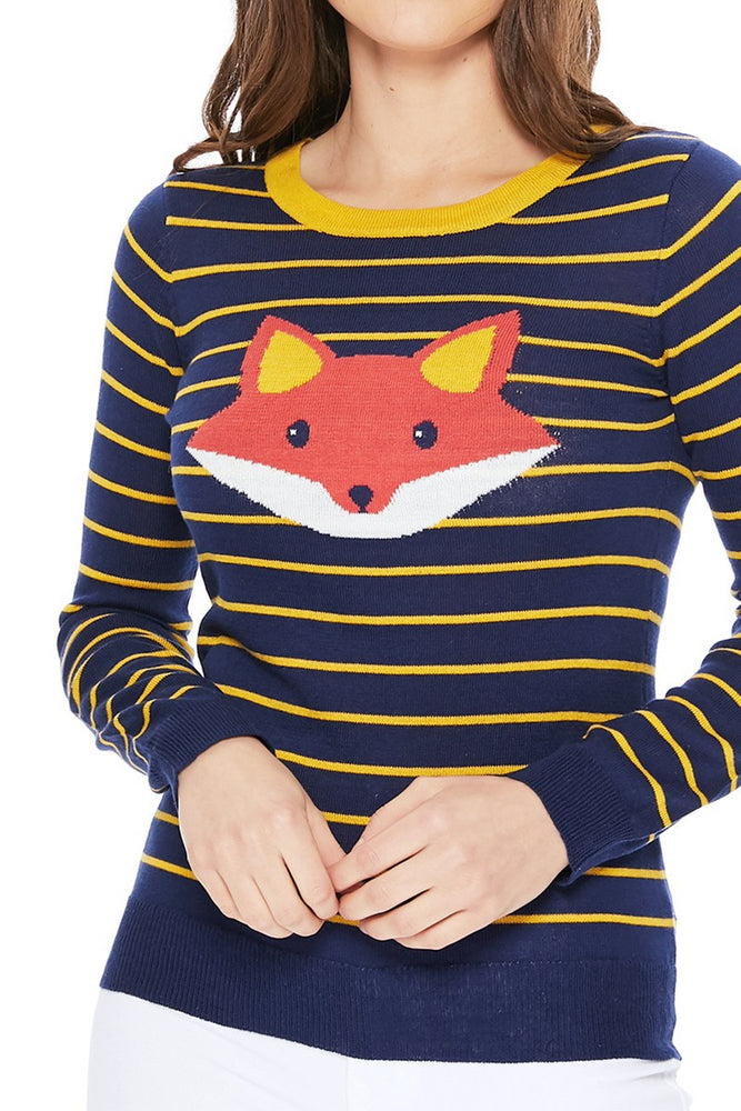 YEMAK Women's Adorable Fox Face Round Neck Stripe Patterned Long Sleeve Pullover Sweater MK3279