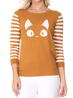 YEMAK Women's Kitty Cat Face 3/4 Sleeve Casual Crewneck Pullover Sweater MK3375 (S-L)
