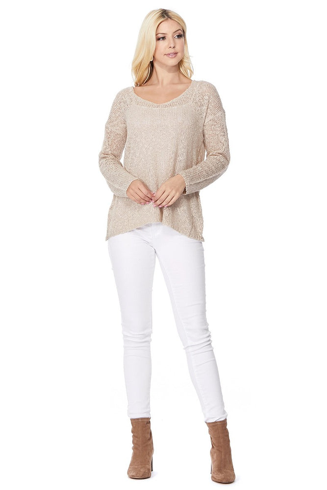 YEMAK Women's Casual Sweatshirt V Neck Long Sleeve Knit Top Loose Pullover Sweater MK3392 (S-L)