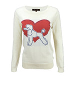 Cute Poodle Love Heart Long Sleeve Round Neck Casual Pullover Knit Sweater MK3463