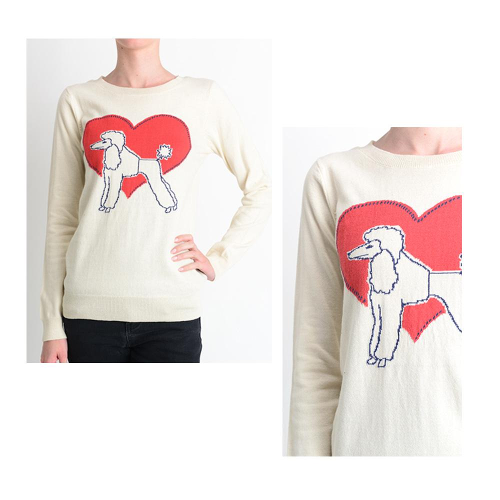 Cute Poodle Love Heart Long Sleeve Round Neck Casual Pullover Knit Sweater MK3463 - Pullover