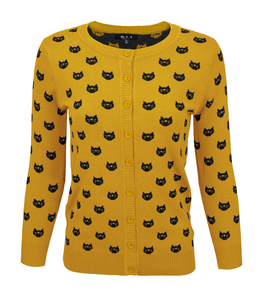 Womens Cute Cat Patterned 3/4 Sleeve Button Down Stylish Cardigan Sweater MK3466 - Cardigans-Sweaters