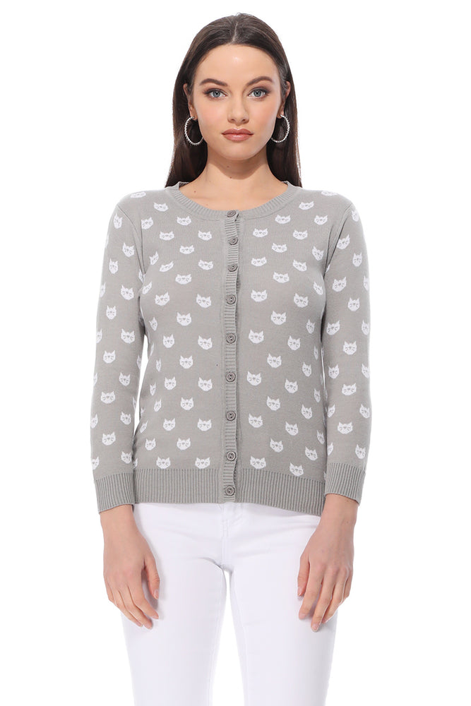 YEMAK Women's Cute Cat Pattern 3/4 Sleeve Button Down Stylish Cardigan Sweater MK3466